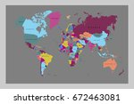 world map countries vector on... | Shutterstock .eps vector #672463081