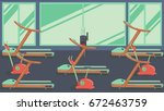 flat colorful gym 09 | Shutterstock . vector #672463759