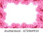 pink oleander border in white... | Shutterstock . vector #672464914