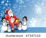 Xmas Fairy-tale with Santa Claus and Snowman - stock photo