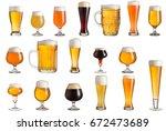 multiple various glasses of... | Shutterstock . vector #672473689