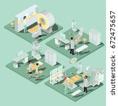 set of 3d flat isometric... | Shutterstock . vector #672475657
