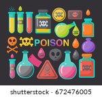 poison vector flat icon set ... | Shutterstock .eps vector #672476005