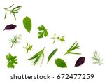 fresh spices and herbs isolated ... | Shutterstock . vector #672477259
