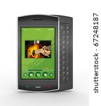 Black mobile smart phone isolated on white with green display. This is a detailed 3D render. - stock photo