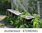 wooden seat   Shutterstock . vector #672482461