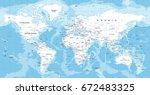 world map vector. high detailed ... | Shutterstock .eps vector #672483325
