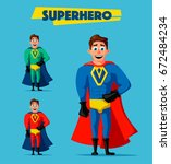 superhero in uniform. cartoon... | Shutterstock .eps vector #672484234