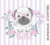 pug with glasses   sketch ... | Shutterstock .eps vector #672497881
