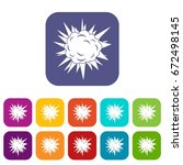 terrible explosion icons set... | Shutterstock .eps vector #672498145