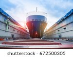 ship in floating dry dock under ... | Shutterstock . vector #672500305