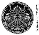 emblem beer label. skull of a... | Shutterstock . vector #672501751