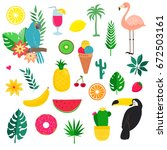 vector set of summer... | Shutterstock .eps vector #672503161