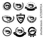 shrimp labels and elements set. ... | Shutterstock .eps vector #672509914