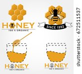 honey bee logo set | Shutterstock .eps vector #672511537