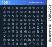 set of 100 vector business and... | Shutterstock .eps vector #672512005