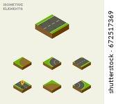 isometric road set of upwards ... | Shutterstock .eps vector #672517369