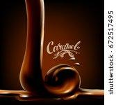 liquid chocolate  caramel or... | Shutterstock .eps vector #672517495