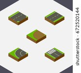 isometric way set of strip ... | Shutterstock .eps vector #672520144