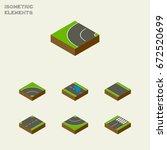 isometric road set of plash ...   Shutterstock .eps vector #672520699
