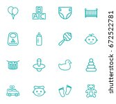 set of 16 kid outline icons set.... | Shutterstock .eps vector #672522781
