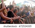 barcelona   jun 15  the crowd... | Shutterstock . vector #672524335