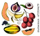 vector hand drawn exotic fruits.... | Shutterstock .eps vector #672534679