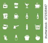 set of 16 drinks icons set... | Shutterstock .eps vector #672535447