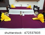tables of a small restaurant on ... | Shutterstock . vector #672537835