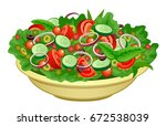 bowl of salad on a white... | Shutterstock .eps vector #672538039