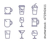 thin line drink icons for... | Shutterstock .eps vector #672542611
