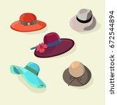 cartoon color hats set fashion... | Shutterstock .eps vector #672544894