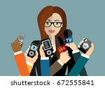 business woman giving an... | Shutterstock .eps vector #672555841