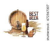 watercolor barrel of beer... | Shutterstock . vector #672567307