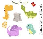 set of different dinosaurs on... | Shutterstock .eps vector #672567439