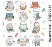 set of cute hand drawn vector... | Shutterstock .eps vector #672570259