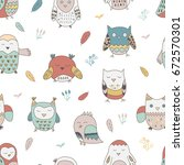 seamless pattern with cute... | Shutterstock .eps vector #672570301