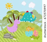 cartoon group of dinosaur.... | Shutterstock .eps vector #672570997
