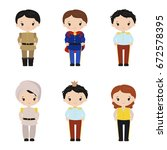collection of cute princes on... | Shutterstock .eps vector #672578395