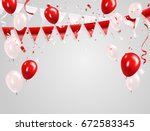 red white balloons  confetti... | Shutterstock .eps vector #672583345