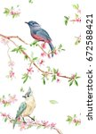 Stock photo banner design with lovely birds on flowering twigs watercolor painting 672588421