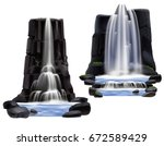 colored waterfalls realistic... | Shutterstock .eps vector #672589429