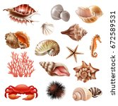 realistic set of different... | Shutterstock .eps vector #672589531