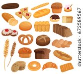 set of bakery products... | Shutterstock .eps vector #672589567