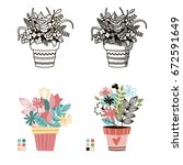 flowers in pots. painted black... | Shutterstock .eps vector #672591649