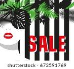 sale. banner. fashion girl.... | Shutterstock .eps vector #672591769