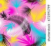 beautiful seamless tropical... | Shutterstock .eps vector #672591799