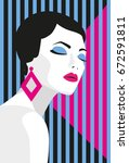 fashion girl. bold  minimal... | Shutterstock .eps vector #672591811