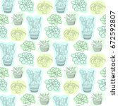 seamless pattern with succulent ... | Shutterstock .eps vector #672592807