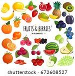 mediterranean fruits and fresh... | Shutterstock .eps vector #672608527